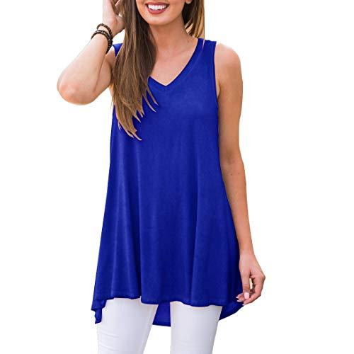 AWULIFFAN Womens Tank Tops Summer Tops Casual Shirts Basic Pajama Blouse (Royal Blue,M) (Top Womens Tank Love)