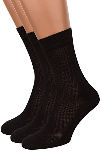 - Summer Dress Socks for Men, 3 packs Thin Breathable Crew Black Socks, AIR SOCKS (Black, M)
