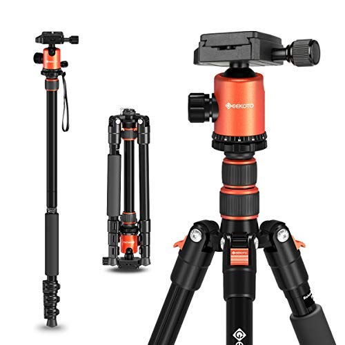 GEEKOTO 58 Ultra Compact Lightweight Aluminum Tripod with 360° Panorama Ball Head for DSLR, Monopod, Tripod for OSMO, Ideal for Vlog, Travel and Work