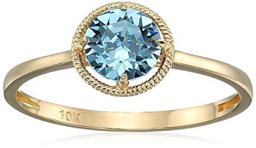 10k Gold Swarovski Crystal January Birthstone Ring, Size 8 by Amazon Collection