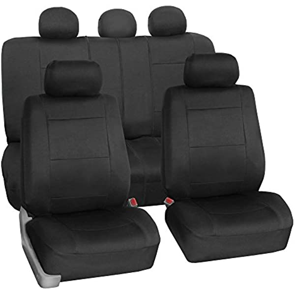 FH Group FB BLACK Full Set Seat Cover Neoprene Waterproof Airbag Compatible and Split Bench Black