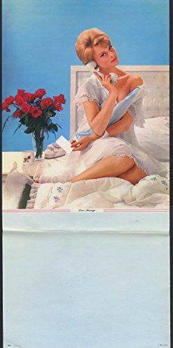 (Love Message pin-up calendar print McC C Co blonde roses phone white nightie)