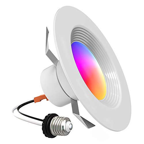 Smart Recessed Lighting – Lumary 5/6 inch WiFi Led Downlight Color Changing Tunable White+RGB 13W(80W Equivalent)1100lm Compatible with Alexa Google Assistant No Hub Required 13W 1100lm (5/6 in WiFi)