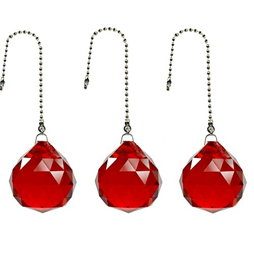Red Ceiling Fan Pull - Gusnilo Magnificent Crystal 20mm Crystal Ball Prism 4 Pieces Dazzling Crystal Ceiling FAN Pull Chains (Big red)