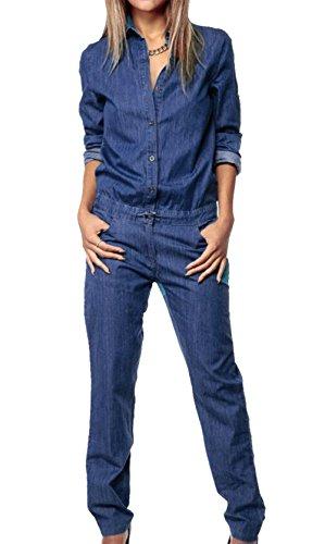 MAXIMGR Womens Loose Long Sleeve Denim Romper High Neck Long Pants Jumpsuit with Tie Waist Size S(US 2-4) (Navy Blue)
