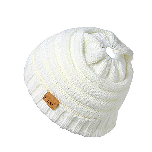 HGWXX7 Unisex Men Women High Bun Ponytail Baggy Warm Crochet Wool Knit Ski Hat Skull Beanie Caps(One -