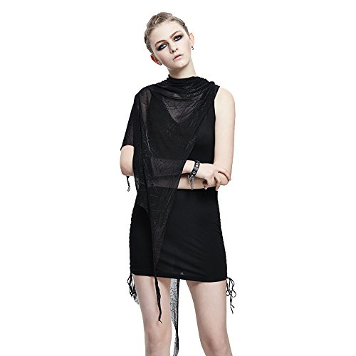 Punk Sleevelss Casual Mini Dress with Cape Spider Web Lace T Shirt Multi-way Black V Neck Dress (M)
