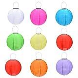 9 Packs Multi-Color 12'' Solar Powered Lanterns Hanging Solar Lamps for Garden
