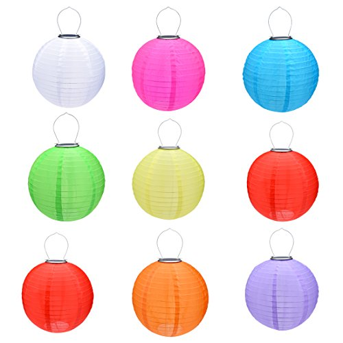 uxcell 9 Packs Multi-Color 12'' Solar Powered Lanterns Round Hanging Solar Lamps by uxcell