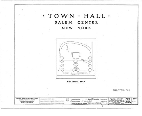 Historic Pictoric Blueprint Diagram HABS NY,60-SAL,1- (Sheet 0 of 7) - Town Hall, Salem Center, Westchester County, NY 44in x 32in
