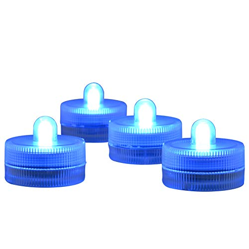 - Submersible LED Lights cr2032 Battery Powered Underwater Waterproof LED Tea Light Candles for Events Wedding Centerpieces Vase Floral Xmas Holidays Home Decor Lighting(Pack of 12) (Blue)