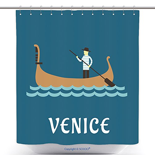 Stylish Shower Curtains Venice Travel Concept With Venetian Gondolier In Traditional Costume In A Wooden Gondola Boat With 300658733 Polyester Bathroom Shower Curtain Set With Hooks - Posh And Beckham Costume