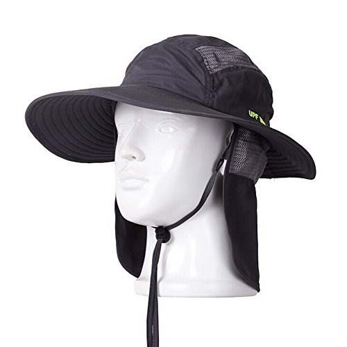 9dcbba478ac Ezyoutdoor Outdoor Collapsible Quick-dry Fishing Hat With Neck Flap Hunting Boonie  Cap Cowboy Bucket Hat with Chin Cord for Fishing Hunting Camping Swimming  ...