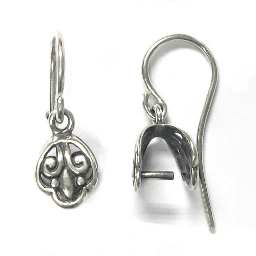 2 pcs .925 Sterling Silver Fleur-de-lis Flower Earring Earwire Pinch Bail Clasp / Findings / Antique ()