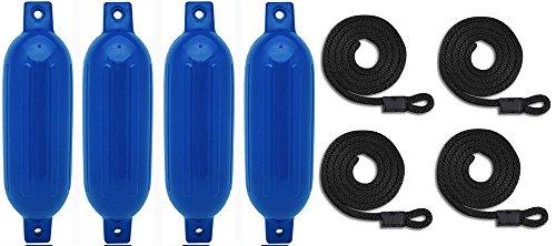 Mad Dog Products 4 Pack Blue Ribbed Boat Fender Bumper Pack w/ Black Fender Lines