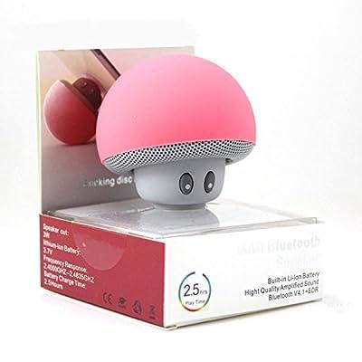 Mini Altavoz Bluetooth Seta Portatil con Ventosa para Altavoz Inalámbrico Estéreo Manos Libres Altavoz Bluetooth Portable Recargable compatible con iPod, Tablet, Smartphone iPhone, Samsung, Mp3, iPad (color rosa