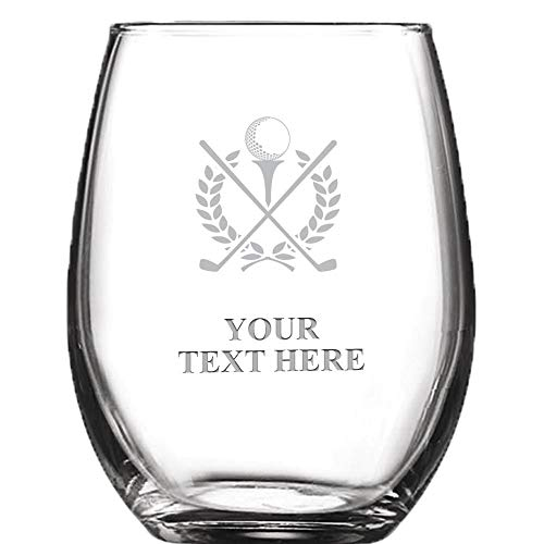 Golf Personalized Wine Glass - 9 oz Custom Soiree Stemless Golf Tournament Wine Glass Gift Favors, Engraving Included Prime -