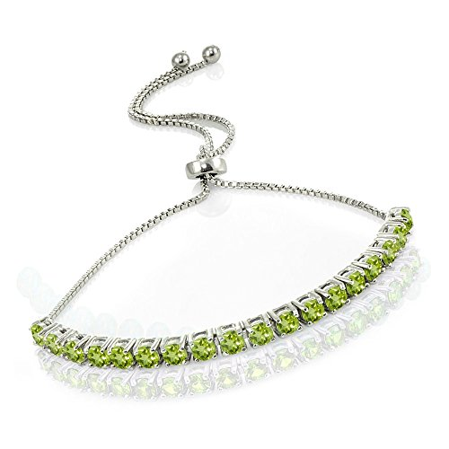 Sterling Silver Peridot Adjustable Tennis Style Adjustable Pull-string Bolo Bracelet