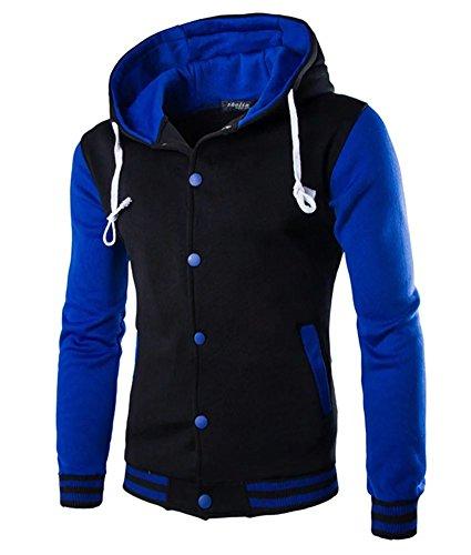 - Kmety Men's Hoodie Cotton Baseball Varsity Jacket Blue