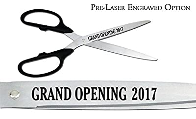 "Pre-Laser Engraved ""GRAND OPENING 2017"" 36"" Silver Ceremonial Ribbon Cutting Scissors"
