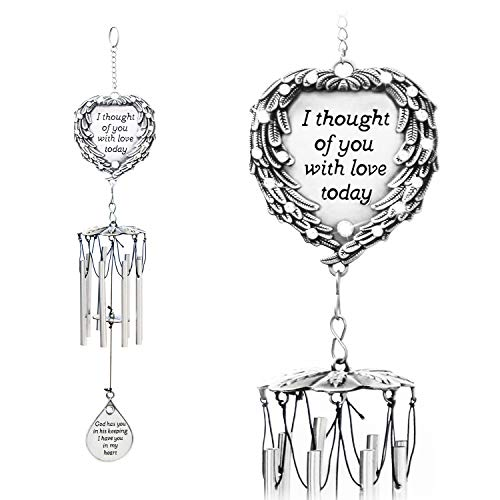 - YOUR GIFTS Your Wind Chimes Engraved Poem I Thought Today Angel Wings Enfold a Heart and Shining Teardrop Diamonds-As Souvenirs Condolence in Loving Memory Suncatcher, 15