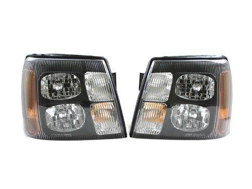 Cadillac Escalade 2002 02 Euro Black Halogen Head Light W Bulb Pair 151818 50 51 Depo Black Euro Headlights