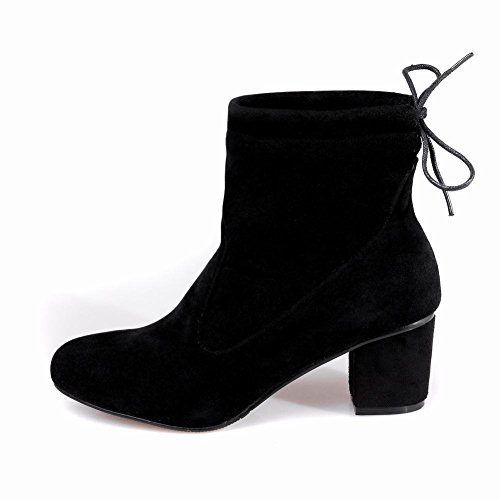 Latasa Womens Faux Nubuck Chunky Heels Cold Weather Casual Boots Black dFr49XDRVg