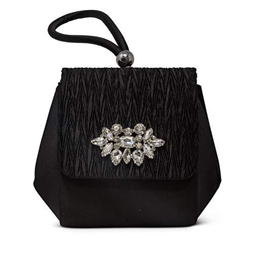 (Jessica McClintock Honey Top Handle Evening Bag, Black (Pleated))
