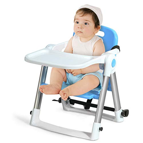 Lowest Prices! BABY JOY Travel Booster Seat with Tray for Baby, Folding Portable High Chair W/Safety...