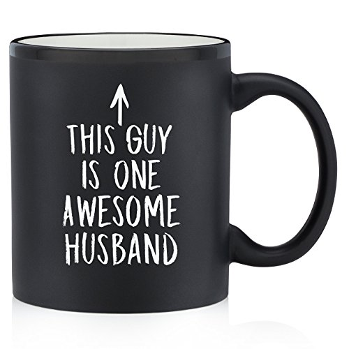 One Awesome Husband Funny Coffee Mug - Great Birthday Gift Idea For Men - Novelty Valentines Day Present For Your Husband - Humorous Anniversary Gift For Him - 11 oz Matte Black Ceramic
