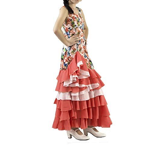 ANUKA Vestido de NIÑA para Danza Flamenco o sevillanas (Salmón ...