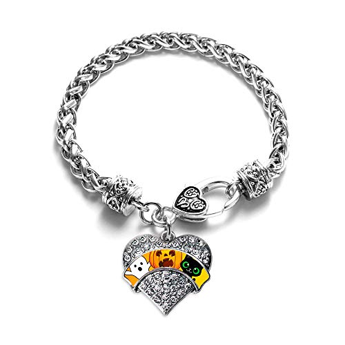Inspired Silver - Cute Halloween Trio Braided Bracelet for Women - Silver Pave Heart Charm Bracelet with Cubic Zirconia Jewelry -