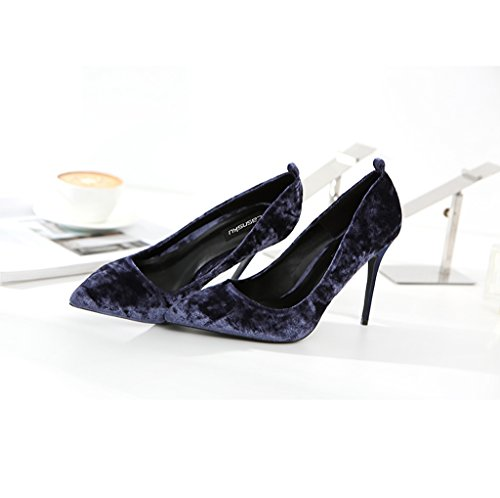 Shallow 10cm Heels Sexy Purple Female 36 Shoes Fashion Lace Size Wedding Sandals Comfortable High Color Pointed Vintage Shoes Suede Lady Comfortable Purple Mouth Elegant x7XXwn1q