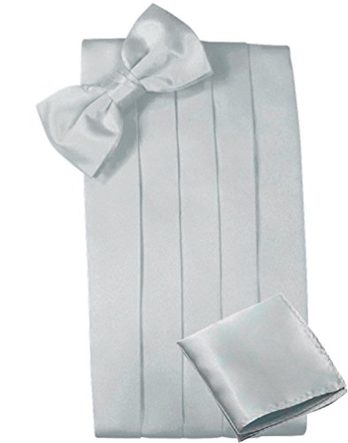 (Mens Satin Cummerbund Bowtie Hanky set, 4 Pleat, Large Variety of Solid Colors Available, by Platinum Hanger (Silver))