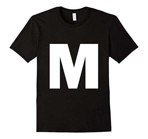Mens Letter M Capital alphabet spell words Initial tee shirt Medium (Alphabet Tee)