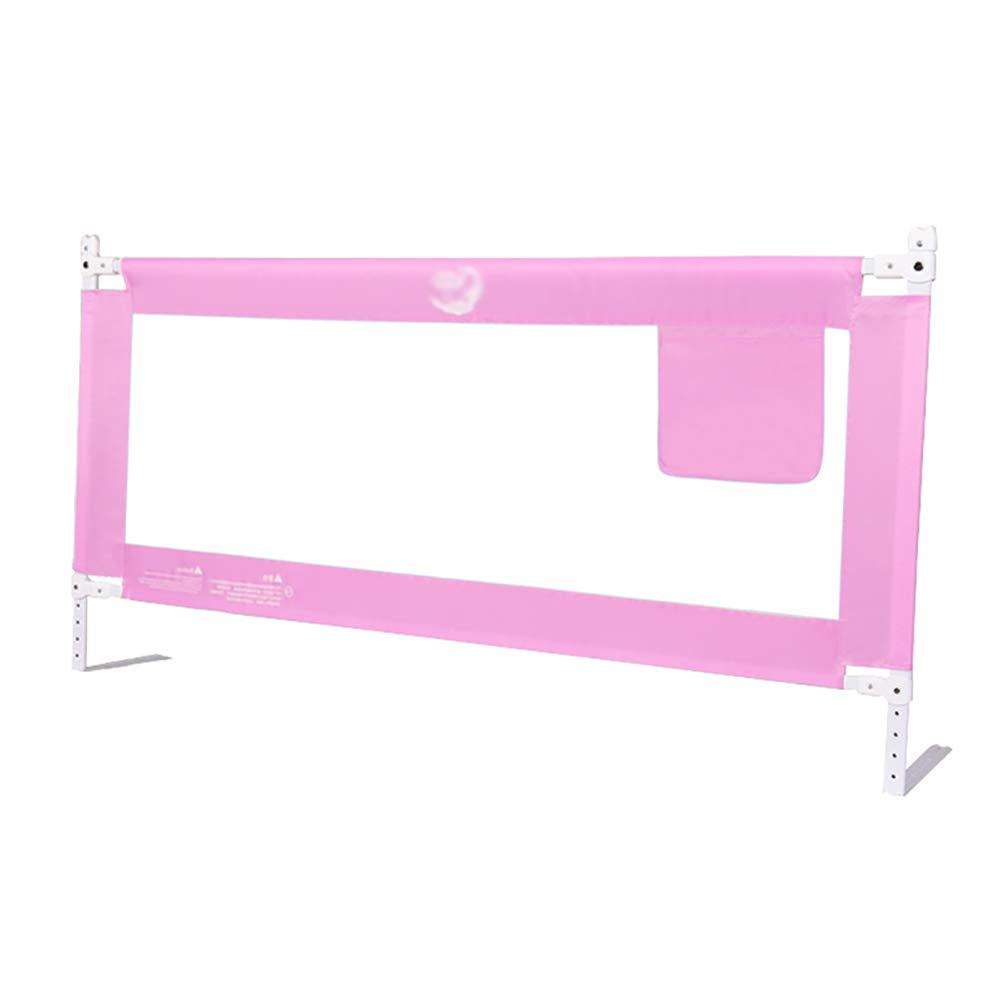 ベッドフェンス 大型安全ベビーガードレール、垂直持ち上がる通気性メッシュレール、ユニバーサルベッドサイドバッフル、5段調整 (色 : Pink, サイズ さいず : 180cm) 180cm Pink B07MMP7GZ5