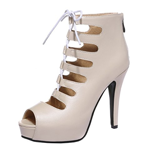 YE Damen Offene High Heels Schnür Sandalen Sommer Ankle Boots Cut Out Pumps  Plateau 8cm Absatz d56989b90d
