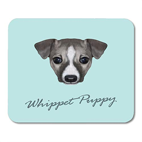 Semtomn Mouse Pad Portrait of Whippet Puppy Cute Face Domestic Dog Mousepad 9.8