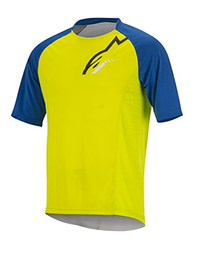Alpinestars Men's Trail Star Short Sleeve Jersey, Lime/Royal Blue, Large