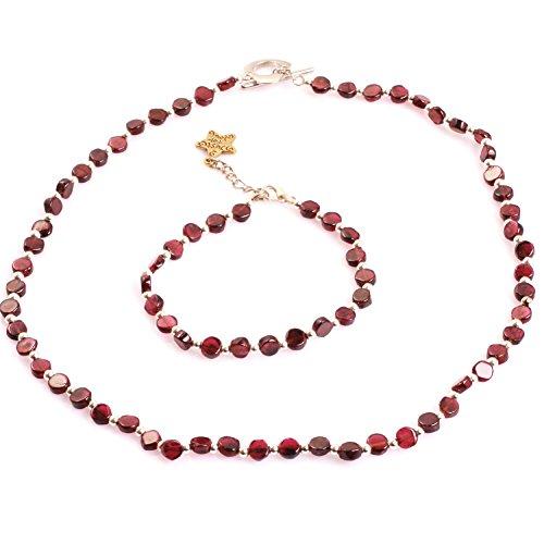 Gem-inside Natural 5MM Coin Red Garnet Gemstone Bracelet Necklace Jewelry Sets for Women Shape Assorted