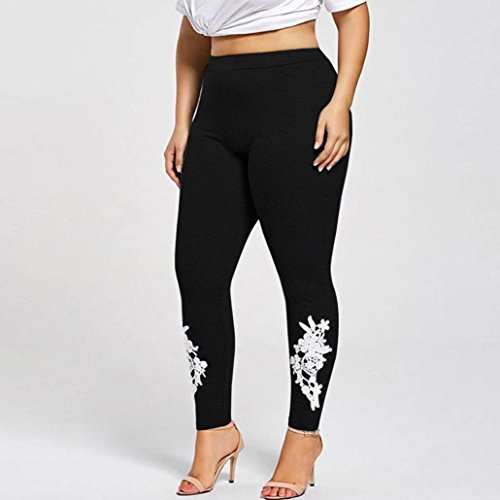 2018-Plus-Size-Lace-Applique-Elastic-Leggings-Trousers-Yoga-Pants-Sport-For-Women-by-TOPUNDER