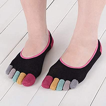 Lannmart Cute Harajuku Colorful Toes Novelty Toe Socks Women Girl Summer Cotton Korean Funny Happy Color