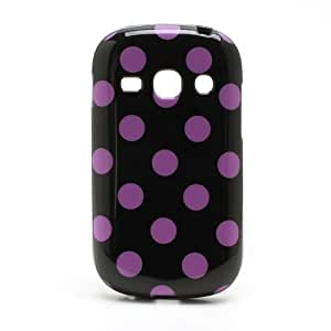 JUJEO Polka Dots Jelly TPU Case for Samsung Galaxy Fame S6810 - Purple Dots - Non - Retail Packaging - Black