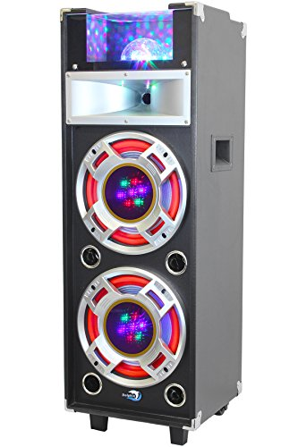 Dolphin SP-23BT Bluetooth Active DJ Party Speaker - 1600 Watts with Built-In Amplifier, SD & USB Card Reader, FM Radio, AUX Input and Sound Activated (120 Watt Microphone Pa Amplifier)