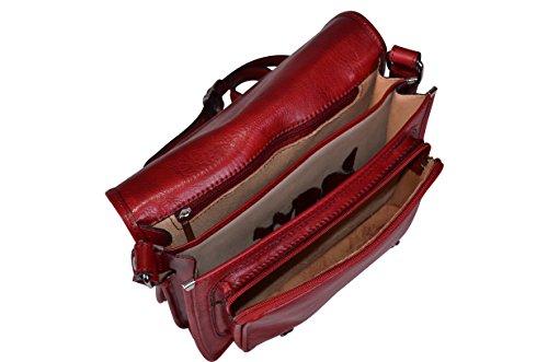 Sac bandoulière Italien en Cuir Véritable Rouge, Satchel Bag- Fabriqué en Italie