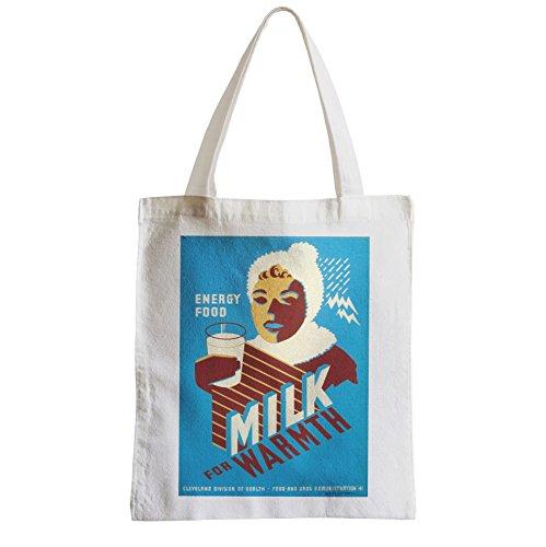 Große Tasche Sack Einkaufsbummel Strand Schüler Milch Milch Energie Essen Gesundheit