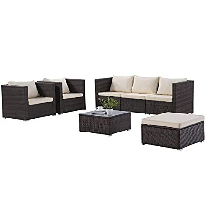 Wicker patio chairs Black Mecor7pc Rattan Wicker Patio Furniture Set Outdoor Furniture Sectional Cushioned Sofa Set glass Coffee Table Amazoncom Amazoncom Mecor7pc Rattan Wicker Patio Furniture Set Outdoor