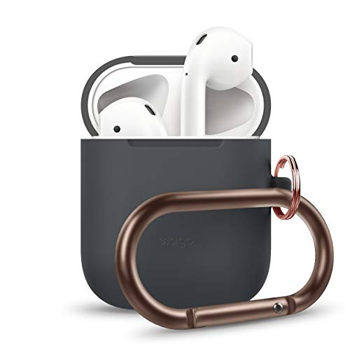 elago AirPods Hang Case [Dark Grey] - Compatible with Apple AirPods 1 & 2, Front LED Not Visible, Supports Wireless Charging, Extra Protection, Added Carabiner, for AirPods 1 & 2 (Apple Headphones Colorful)