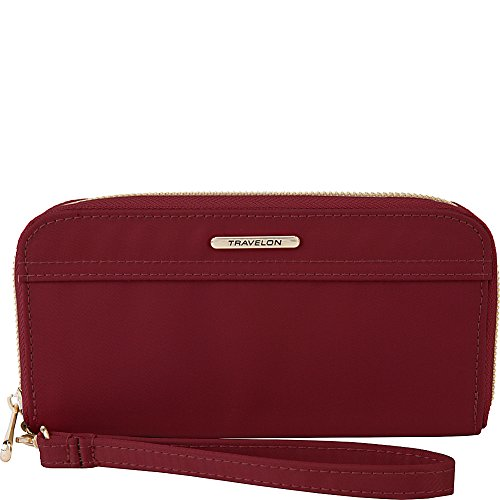 Travelon Women's Tailored Clutch Wallet, Garnet