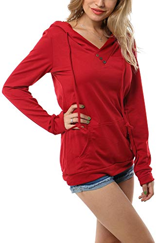 Aifer Womens Pullover T-Shirt Long Sleeve Casual Buttons Knitting Sweatshirt Top